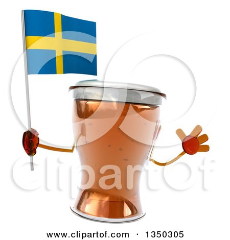 Clipart of a 3d Beer Mug Character Jumping and Holding a Sweden Flag - Royalty Free Illustration by Julos