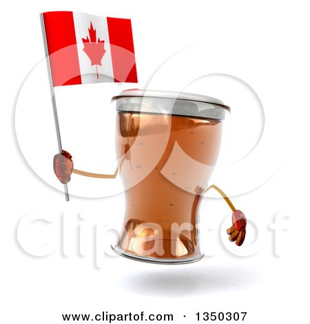 Clipart of a 3d Beer Mug Character Holding a Canadian Flag - Royalty Free Illustration by Julos