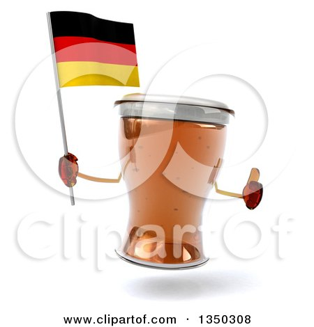 Clipart of a 3d Beer Mug Character Giving a Thumb up and Holding a German Flag - Royalty Free Illustration by Julos