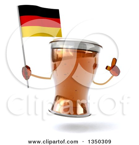 Clipart of a 3d Beer Mug Character Holding up a Finger and a German Flag - Royalty Free Illustration by Julos