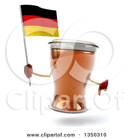 Clipart of a 3d Beer Mug Character Giving a Thumb down and Holding a German Flag - Royalty Free Illustration by Julos