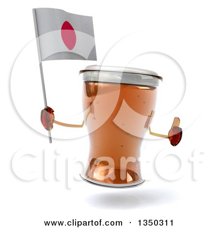 Clipart of a 3d Beer Mug Character Giving a Thumb up and Holding a Japanese Flag - Royalty Free Illustration by Julos