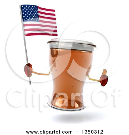 Clipart of a 3d Beer Mug Character Holding an American Flag and Thumb up - Royalty Free Illustration by Julos