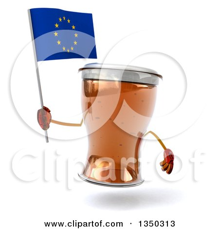Clipart of a 3d Beer Mug Character Holding a European Flag - Royalty Free Illustration by Julos