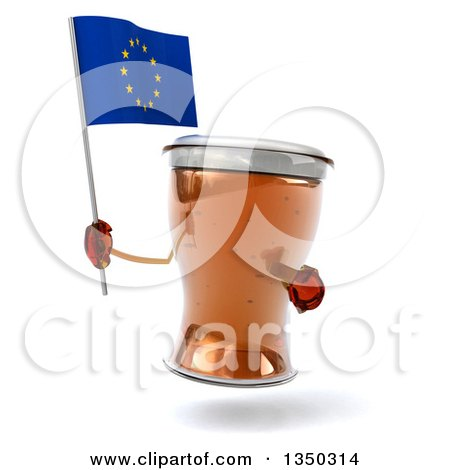 Clipart of a 3d Beer Mug Character Holding and Pointing to a European Flag - Royalty Free Illustration by Julos