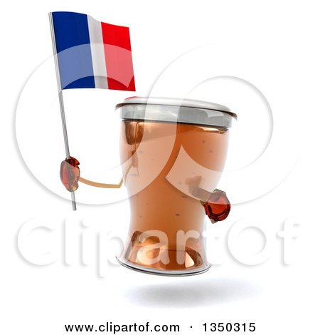 Clipart of a 3d Beer Mug Character Holding and Pointing to a French Flag - Royalty Free Illustration by Julos