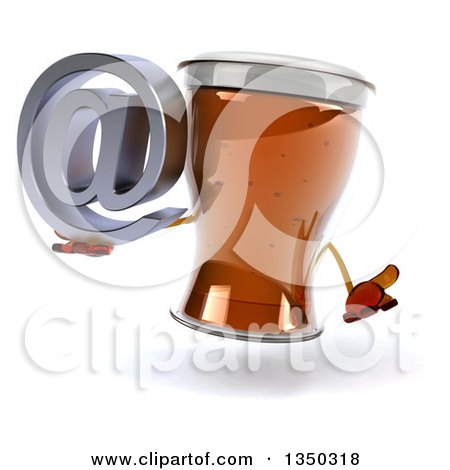 Clipart of a 3d Beer Mug Character Shrugging and Holding an Email Arobase at Symbol - Royalty Free Illustration by Julos