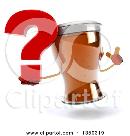 Clipart of a 3d Beer Mug Character Holding up a Finger and a Question Mark - Royalty Free Illustration by Julos