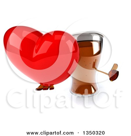 Clipart of a 3d Beer Mug Character Holding up a Thumb and a Red Love Heart - Royalty Free Illustration by Julos