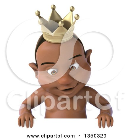 Clipart of a 3d Black Baby Boy Wearing a Crown and Looking down over a Sign - Royalty Free Illustration by Julos