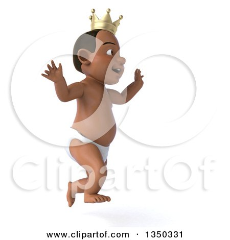 Clipart of a 3d Black Baby Boy Wearing a Crown, Running to the Right - Royalty Free Illustration by Julos