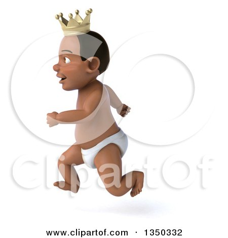 Clipart of a 3d Black Baby Boy Wearing a Crown, Sprinting to the Left - Royalty Free Illustration by Julos