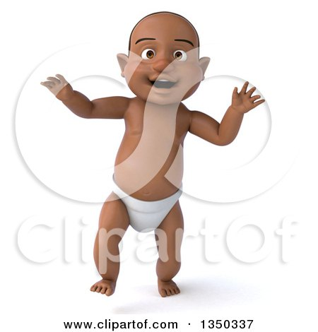 Clipart of a 3d Black Baby Boy Walking - Royalty Free Illustration by Julos