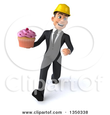Clipart of a 3d Young White Male Architect Holding a Cupcake and Speed Walking - Royalty Free Illustration by Julos