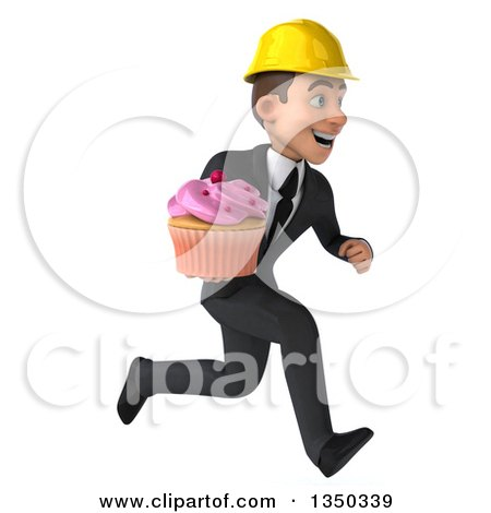 Clipart of a 3d Young White Male Architect Holding a Cupcake and Sprinting to the Right - Royalty Free Illustration by Julos