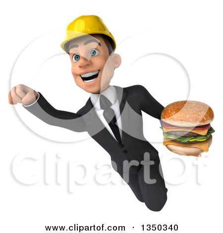 Clipart of a 3d Young White Male Architect Holding a Double Cheeseburger and Flying - Royalty Free Illustration by Julos