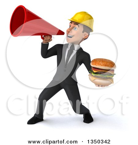 Clipart of a 3d Young White Male Architect Holding a Double Cheeseburger and Using a Megaphone - Royalty Free Illustration by Julos