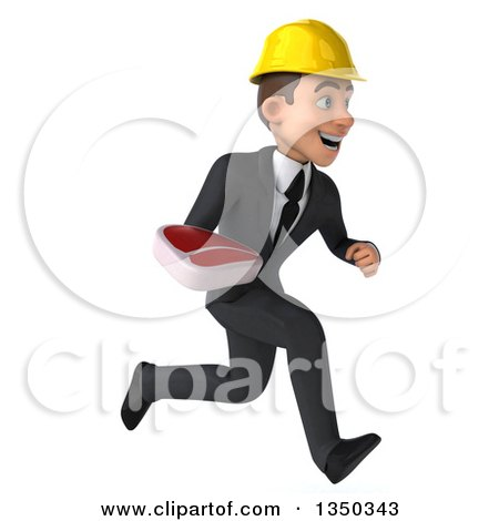 Clipart of a 3d Young White Male Architect Holding a Beef Steak and Sprinting to the Right - Royalty Free Illustration by Julos