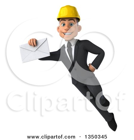 Clipart of a 3d Young White Male Architect Holding an Envelope and Flying - Royalty Free Illustration by Julos