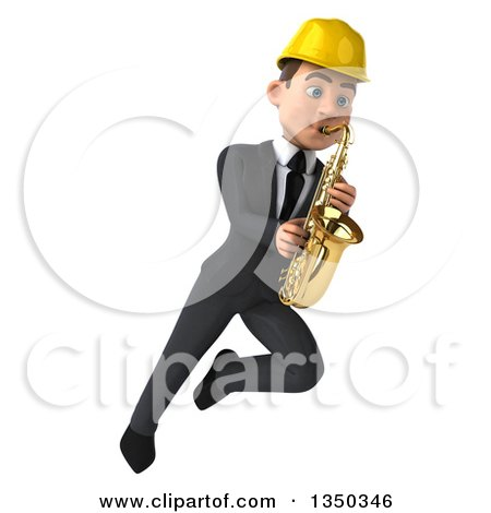 Clipart of a 3d Young White Male Architect Playing a Saxophone and Flying - Royalty Free Illustration by Julos
