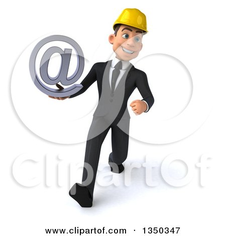 Clipart of a 3d Young White Male Architect Holding an Email Arobase at Symbol and Speed Walking - Royalty Free Illustration by Julos