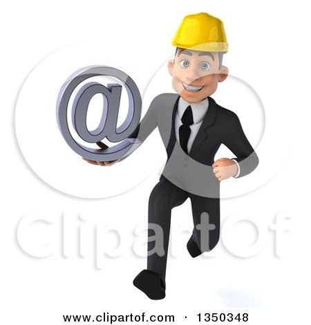 Clipart of a 3d Young White Male Architect Holding an Email Arobase at Symbol and Sprinting - Royalty Free Illustration by Julos