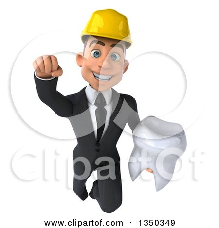 Clipart of a 3d Young White Male Architect Holding a Tooth and Flying - Royalty Free Illustration by Julos