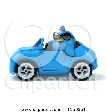 Clipart of a 3d Chubby Blue Bird Wearing Sunglasses and Driving a Convertible Car to the Left - Royalty Free Illustration by Julos