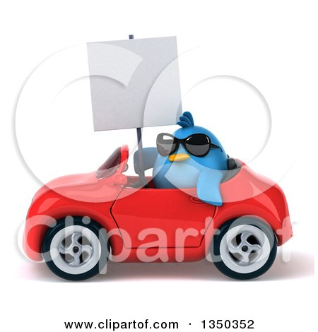Clipart of a 3d Chubby Blue Bird Wearing Sunglasses, Holding a Blank Sign and Driving a Red Convertible Car to the Left - Royalty Free Illustration by Julos