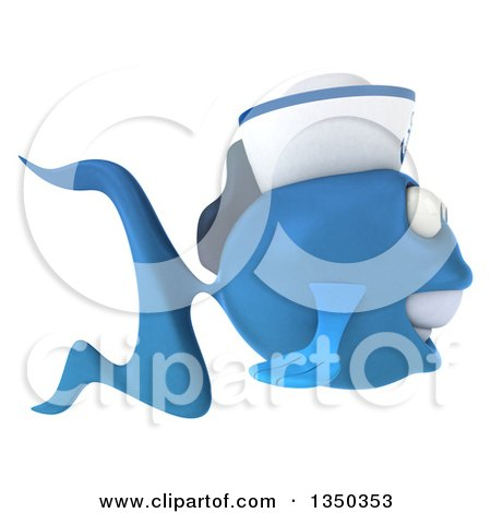 Clipart of a 3d Happy Blue Sailor Fish Facing Right - Royalty Free Illustration by Julos