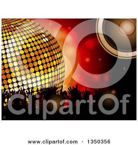 Clipart of a 3d Gold Disco Ball, Music Speaker, and Silhouetted Concert Fan Hands over Red Flares - Royalty Free Vector Illustration by elaineitalia