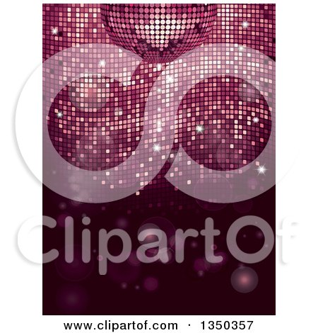 Clipart of a 3d Disco Ball over Pink Mosaic and Flares - Royalty Free Vector Illustration by elaineitalia