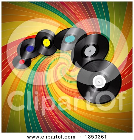 Clipart of 3d Music Vinyl Record Albums over a Colorful Vintage Swirl - Royalty Free Vector Illustration by elaineitalia