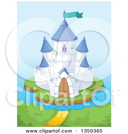 Clipart of a Blue and White Island Castle Against the Ocean - Royalty Free Vector Illustration by Pushkin