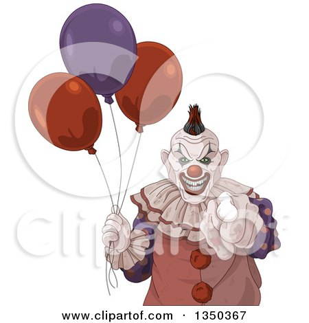 Clipart of a Scary Halloween Clown Pointing at the Viewer and Holding Party Balloons - Royalty Free Vector Illustration by Pushkin