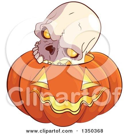 Clipart of a Skull on a Carved Halloween Jackolantern Pumpkin - Royalty Free Vector Illustration by Pushkin