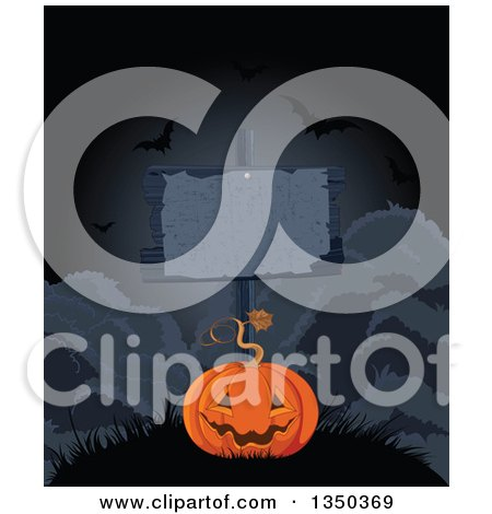 Clipart of a Carved Halloween Jackolantern Pumpkin Under a Blank Sign with Flying Bats at Night - Royalty Free Vector Illustration by Pushkin