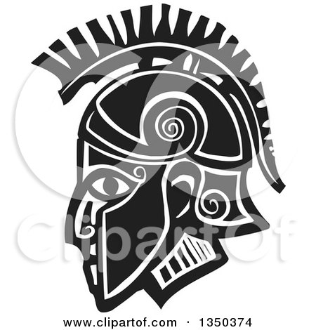 Clipart of a Black and White Woodcut Hoplight Grecian Spartan Soldier in Profile - Royalty Free Vector Illustration by xunantunich