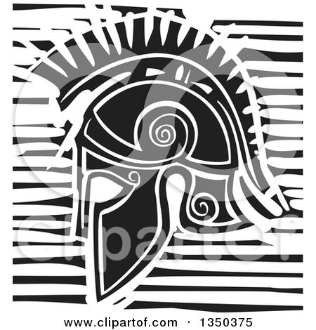 Clipart of a Black and White Woodcut Hoplight Grecian Spartan Soldier Helmet in Profile - Royalty Free Vector Illustration by xunantunich