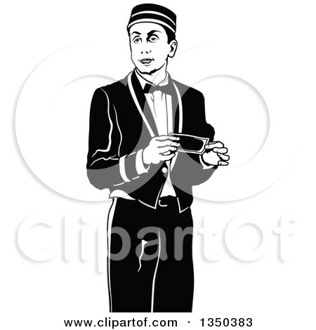 Clipart of a Black and White Bellboy or Bellhop Hotel Worker Man Holding a Cash Tip - Royalty Free Vector Illustration by dero