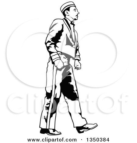 Clipart of a Black and White Bellboy or Bellhop Hotel Worker Man Walking - Royalty Free Vector Illustration by dero