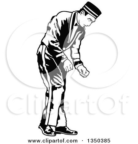 Clipart of a Black and White Bellboy or Bellhop Hotel Worker Man Bending over - Royalty Free Vector Illustration by dero