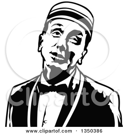 Clipart of a Black and White Bellboy or Bellhop Hotel Worker Man - Royalty Free Vector Illustration by dero
