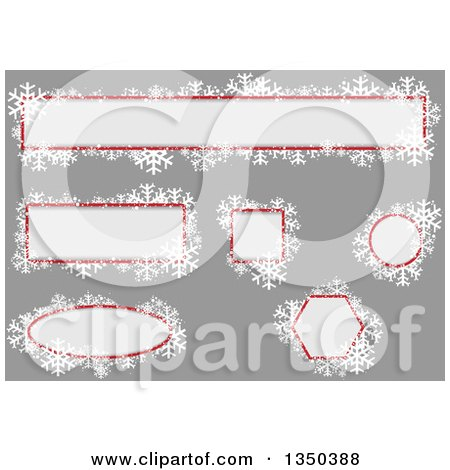 Clipart of off White, Red and Snowflake Christmas Text Box Design Elements over Gray - Royalty Free Vector Illustration by dero