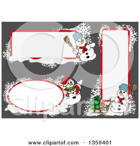 Clipart of White and Red Snowflake and Snowmen Christmas Text Box Design Elements over Gray - Royalty Free Vector Illustration by dero