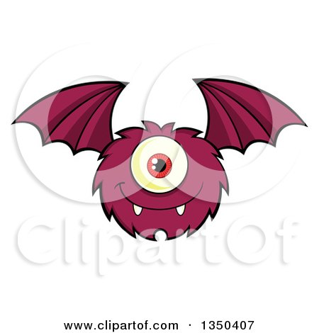 Clipart of a Furry Bat Winged Purple Cyclops Monster Flying - Royalty Free Vector Illustration by Hit Toon