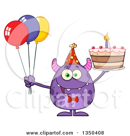 Clipart of a Happy Purple Horned Monster Holding a Birthday Cake and Party Balloons - Royalty Free Vector Illustration by Hit Toon
