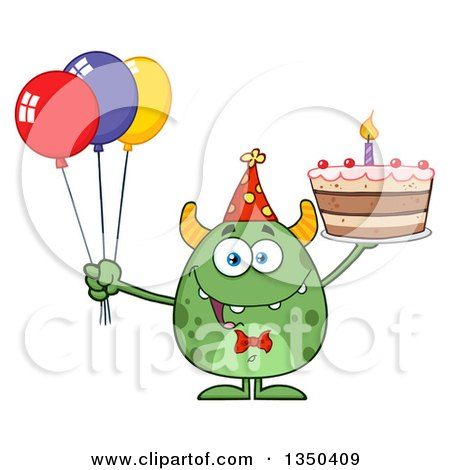 Clipart of a Happy Green Horned Monster Holding a Birthday Cake and Party Balloons - Royalty Free Vector Illustration by Hit Toon