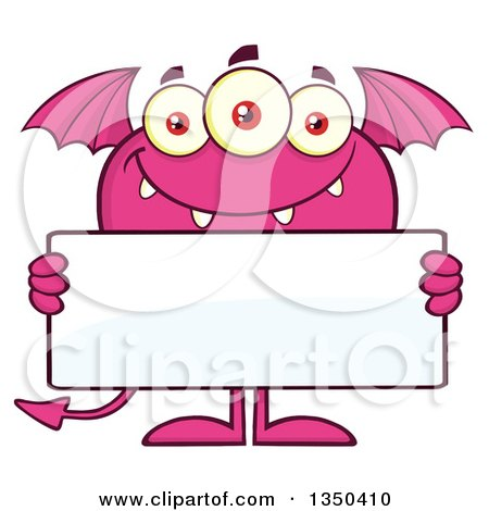 Clipart of a Pink Bat Winged, Fork Tailed Monster Holding a Blank Sign - Royalty Free Vector Illustration by Hit Toon