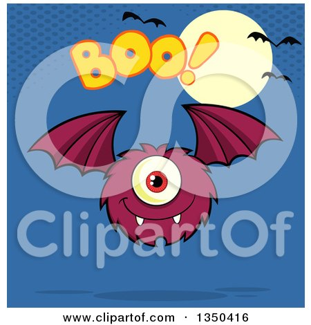 Clipart of a Furry Bat Winged Purple Cyclops Monster Flying with Boo Text over Blue, a Full Moon and Bats - Royalty Free Vector Illustration by Hit Toon